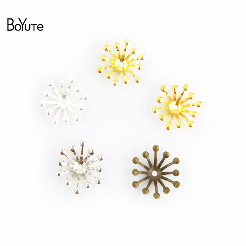 BoYuTe 200Pcs 4 Colors 13MM Flower Charms Wholesale Filigree Metal Brass DIY Jewelry Charms for Wedding Hair Accessories (3)