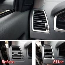 2 pz/set Per Volvo XC90 2002-2014 In Acciaio Inox Auto Cruscotto Lato Aria Condizionata AC Vent Cornice Adesivi Per Auto auto Trim Styling