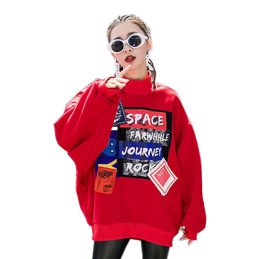 Loose Harajuku Casual Pullover Women Print Tracksuit Streetwear Hip Hop Korean Style Tops Big Size Sweatshirt Women Clothes 5F11