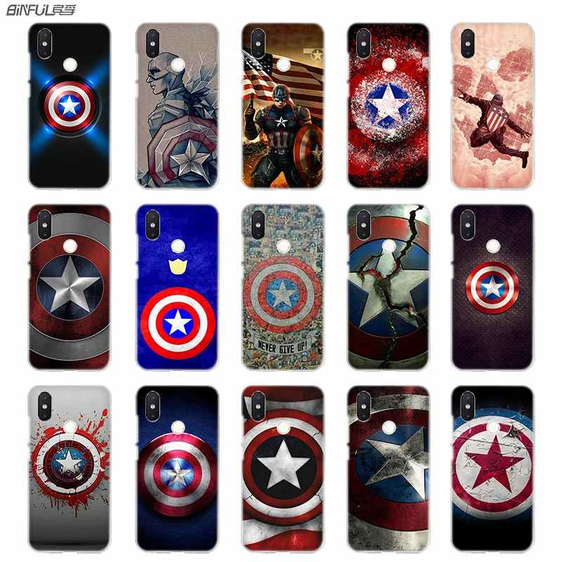 detailed pictures 48e93 44d72 BinFul phone case Transparent Hard cover for Xiaomi mi Redmi Note 7 5 4 3  4X 5A 6 Pro 64g S2 Plus Marvel Hero Captain America