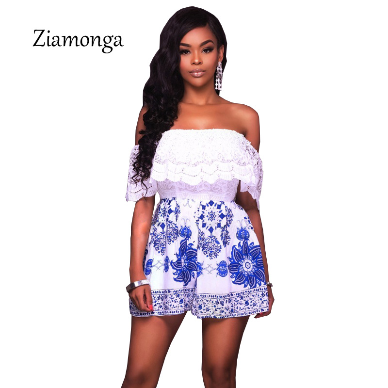 Ziamonga Elegant Slash Neck Women Summer Floral Printed Lace Tops Short Jumpsuit Ladies Short Playsuits Beach Rompers Overalls