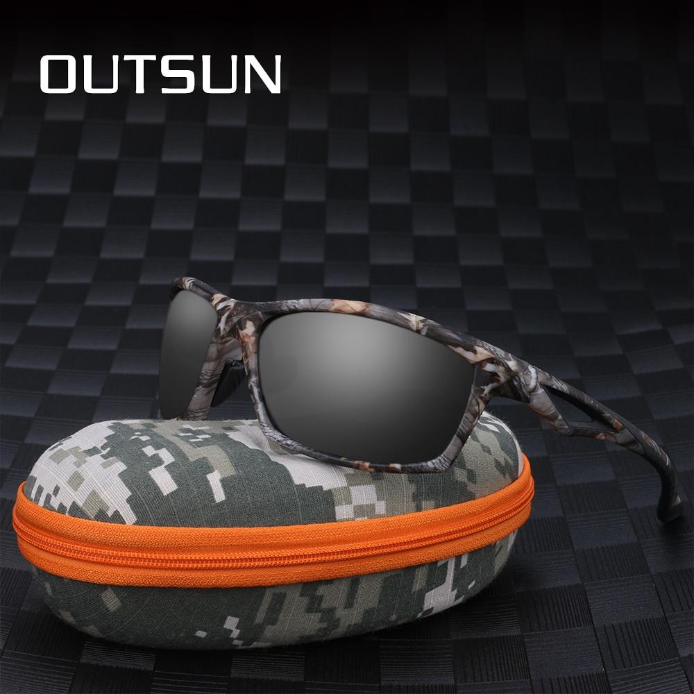 OUTSUN Polarisierte Sonnenbrille Männer TR90 Camo rahmen Marke Designer männlichen polaroid Sonnenbrille Camouflage fall 8864