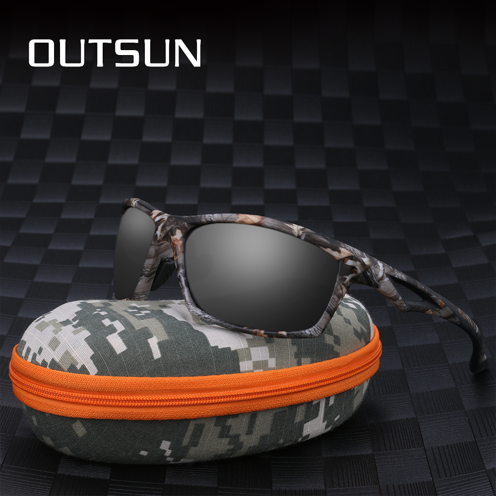 OUTSUN Polarized Sunglasses Men TR90 Camo frame Brand Designer male polaroid Sun Glasses Camouflage case 8864