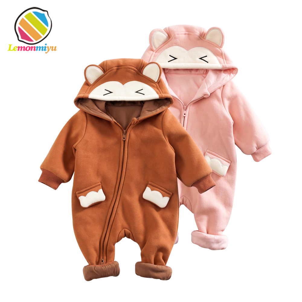 Baby Cute Anamal Monkey Rompers Thick Climbing Clothes Newborn Boys Girls Winter Autumn Warm Romper Cotton Hooded Outwear Suits