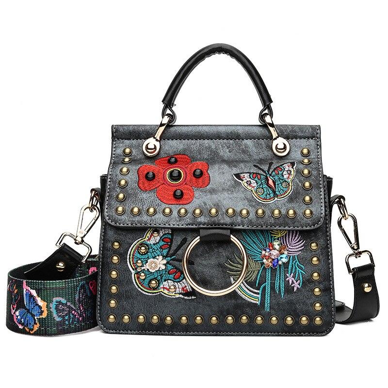 ETONTECK Vintage Women PU Leather Handbags Luxury Designer Brand Embroidered Floral Crossbody Bag Fashion Rivets Flap Bag