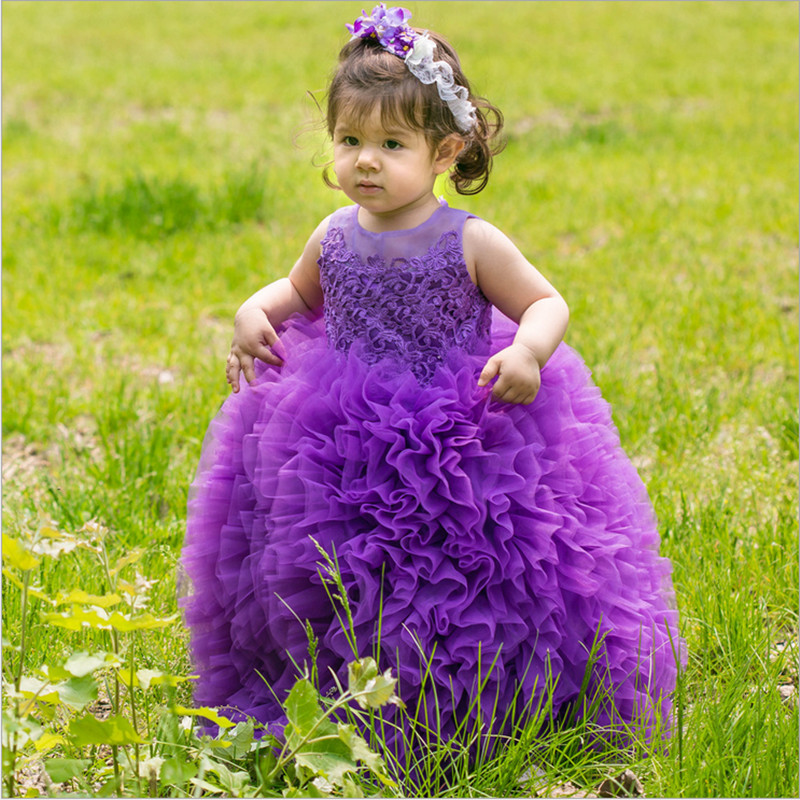 Lace Tulle Flower Girl Dresses Pink Tutu Dress Princess Girls Birthday Performance Ball Gown Kids Pageant Party Wedding Dresses princess ball gown red lace flower girls dresses for weddings birthday communion kids stage performance