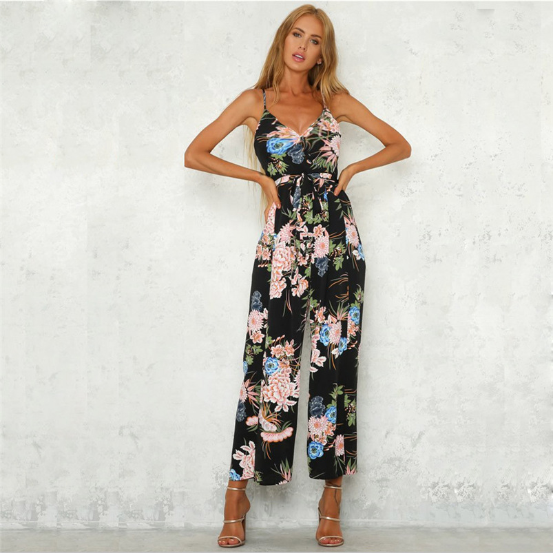 2018 Women Rompers Sexy Party Beach Jumpsuits Summer Sleeveless Floral Long Bodysuit Casual feminino Playsuit Whloesale #FM30