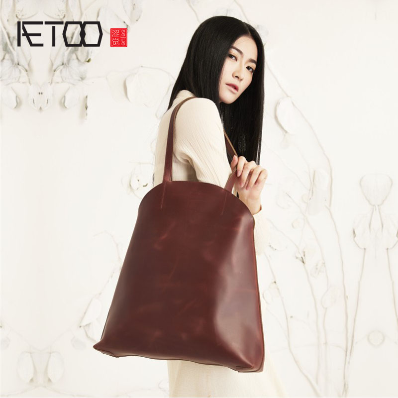 AETOO High-end original handmade real cattle handbag handbags commoner cotton and linen art package retro color