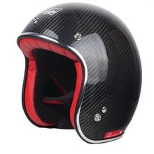 Бесплатная доставка мужчины и женщины подлинная углеродного волокна бак шлем мотоциклетный шлем половина шлем T539 Ретро
