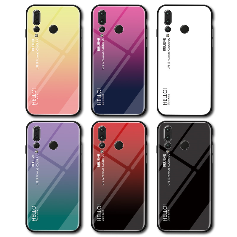 For Huawei Nova 4 Case Tempered Glass for Nova4 Gradient Color Back Cover Soft Bumper