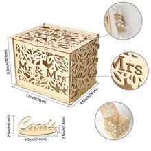 DIY деревянная коробка для свадебных карточек с замком и вывеской в деревенском стиле, полый Подарочный держатель для карт, для приема, свадьбы, юбилея, вечерние, Декор