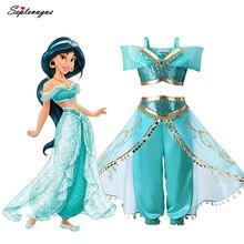 Девушки Аладдин лампа Принцесса Жасмин Костюмы косплей для детей Хэллоуин вечерние танец живота платье индийская принцесса костюм