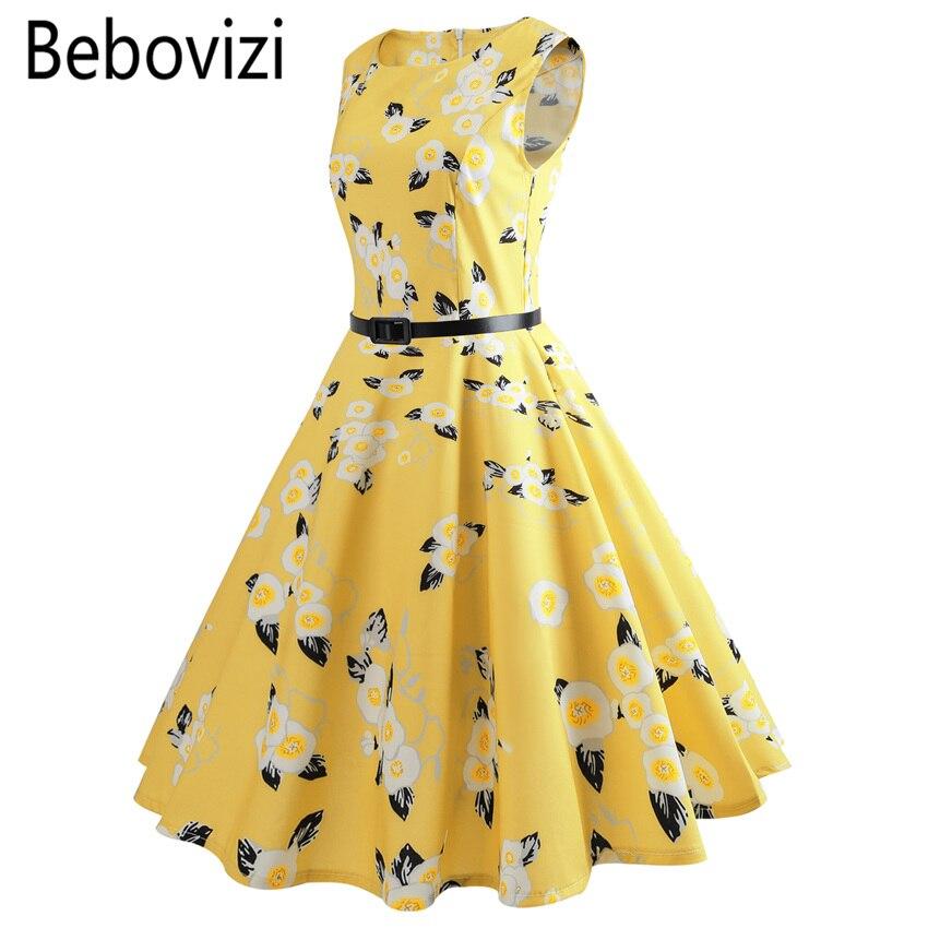 Bebovizi 2018 Yellow Color Audrey Hepburn Elegant Party Dress Vestido De  Festa Girls Clothes for Women a34c982012b8