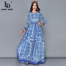 LD LINDA DELLA New Fashion Runway Maxi Dresses Women's Long Sleeve Vintage Casual Chiffon Blue and white Printed Long Dress цена и фото