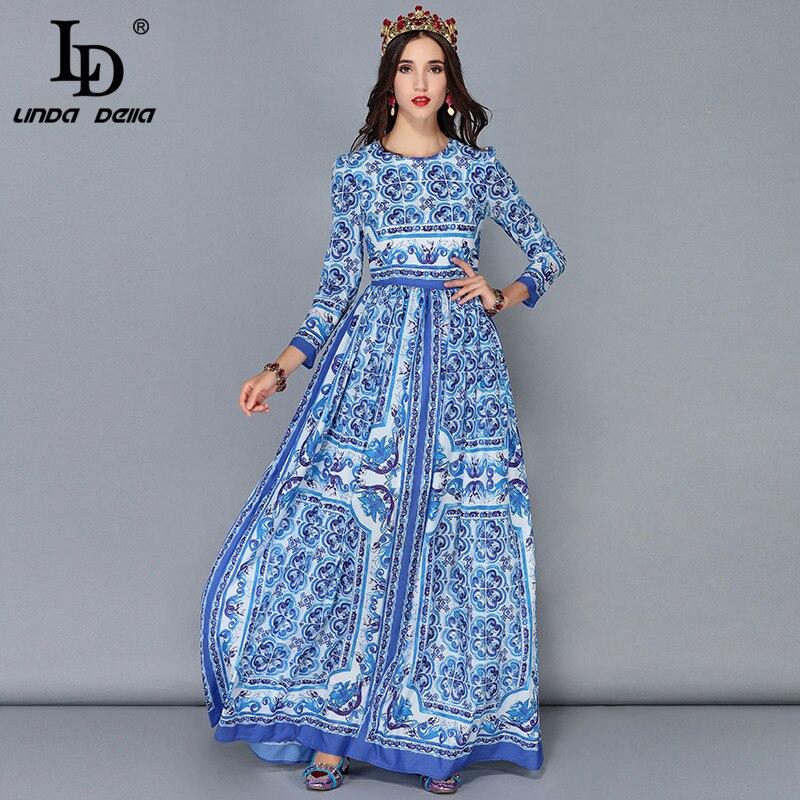 LD LINDA DELLA nouvelle mode Piste Maxi Robes de Femmes à manches longues Vintage décontracté En Mousseline de Soie Bleu et blanc robe longue imprimée