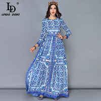 LD LINDA DELLA Nuova Pista di Modo Maxi Vestiti Delle Donne Maglia A Manica Lunga Vintage Casual Chiffon Blu e bianco Stampato Lungo vestito
