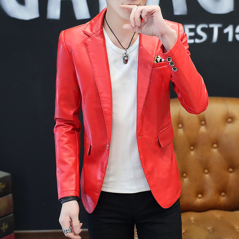 HOO 2020 Pu Leather Leather Blazer Men's Suits Cultivate One's Morality Leisure Fashion