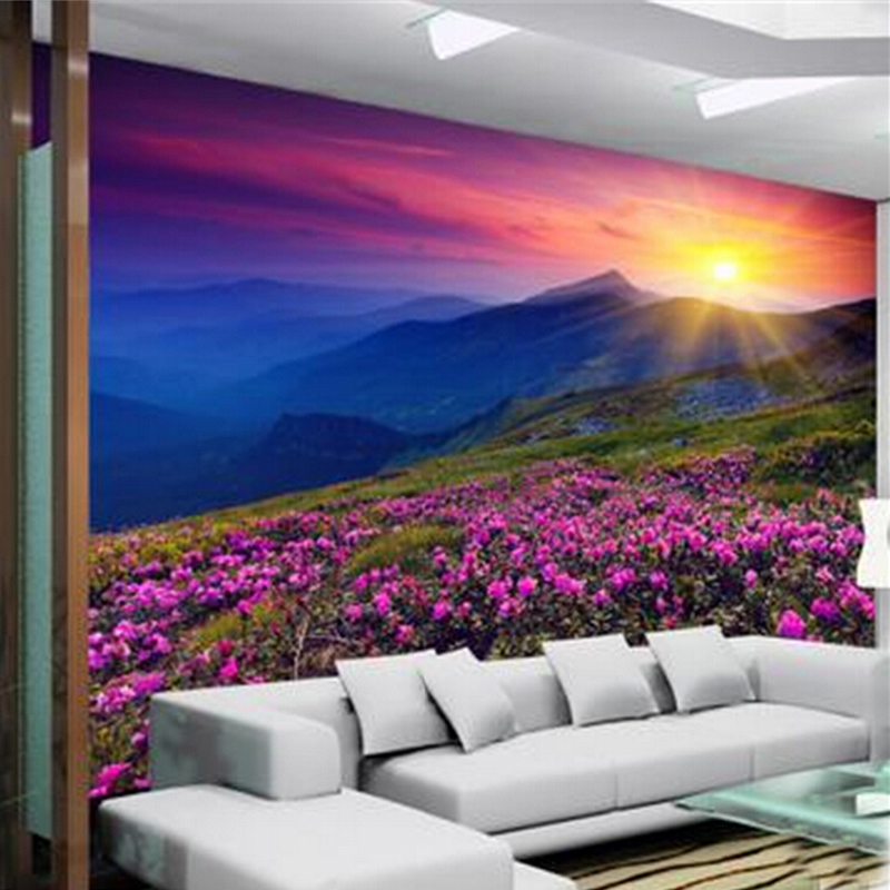 Custom Mural Wallpaper 3D Non-woven Nature Alpine Flowers Beautiful Sunrise Wall Decorations Bedroom Living Room Photo Wallpaper