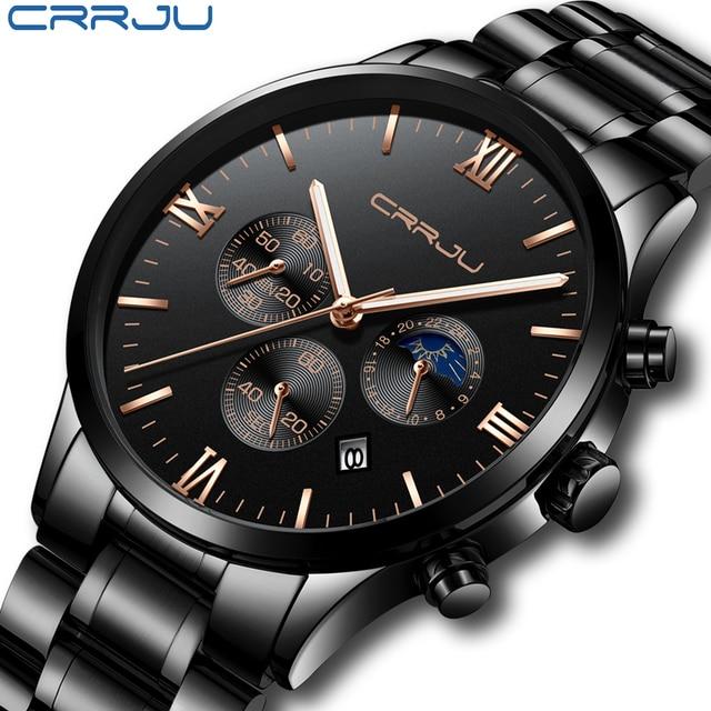 2a8face2462 2018 CRJU Homens Relógio de Quartzo Homens Top Marca De Luxo Relógios de  Moda Homem de