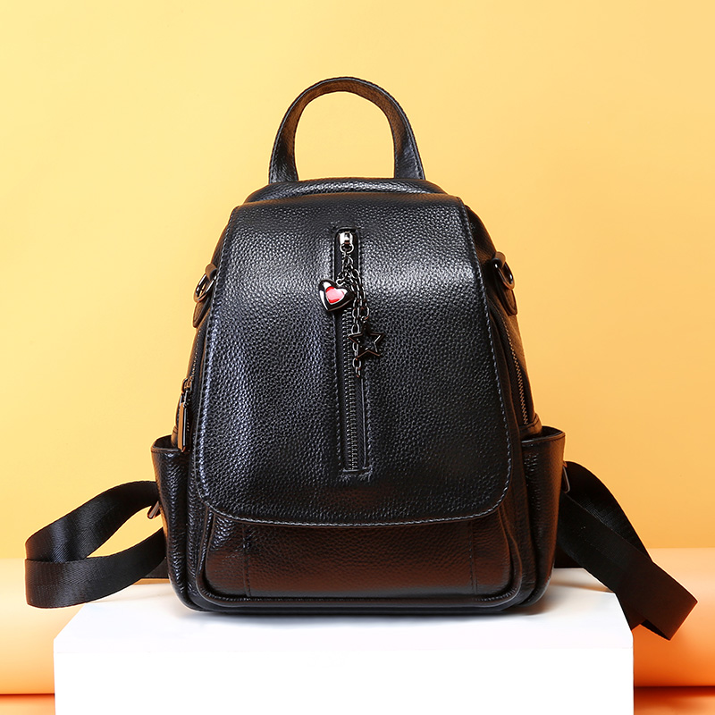 2019 New Fashion Women Backpack Genuine Leather Ladies Backpacks Small Preppy Style School Backpack For Girls Travel Day Pack-in Backpacks from Luggage & Bags    3