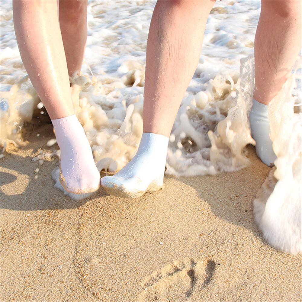 Best Dealing 2018 Summer New Arrival 1Pair Aqua Silicone Beach Shoes Beach Water Socks Exercise Pool Slip On White