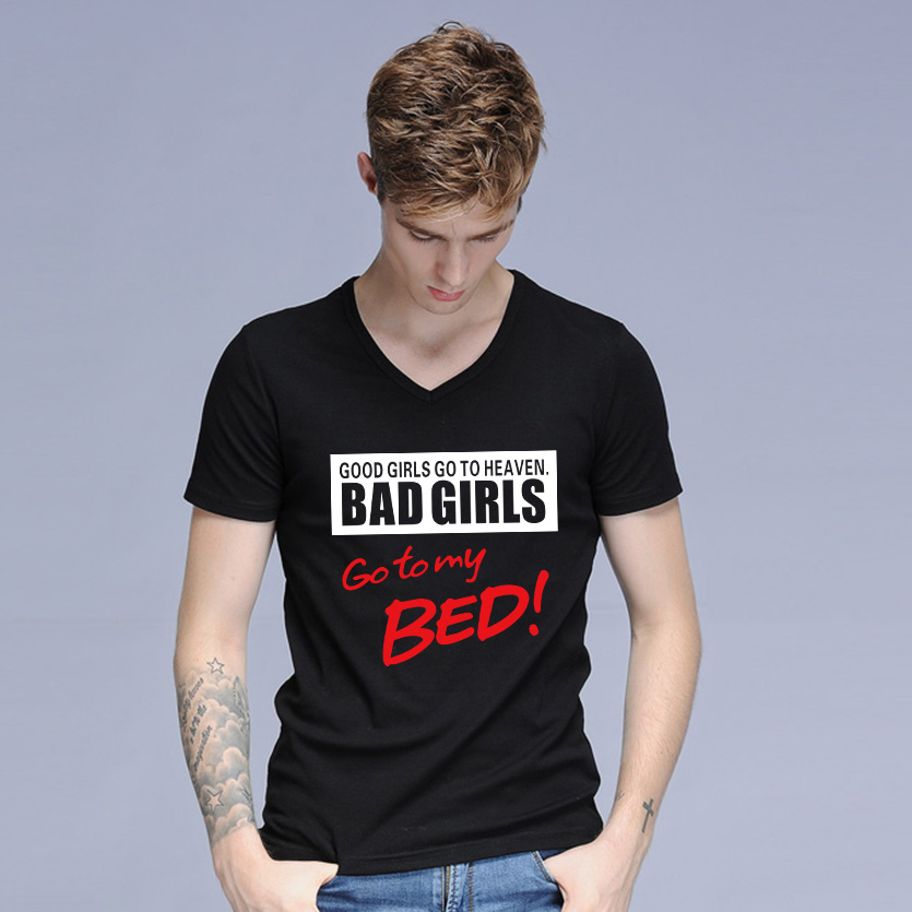 Hot Sale Bad Girls Go To My Bed Funny T Shirts Men Graphic Design ...