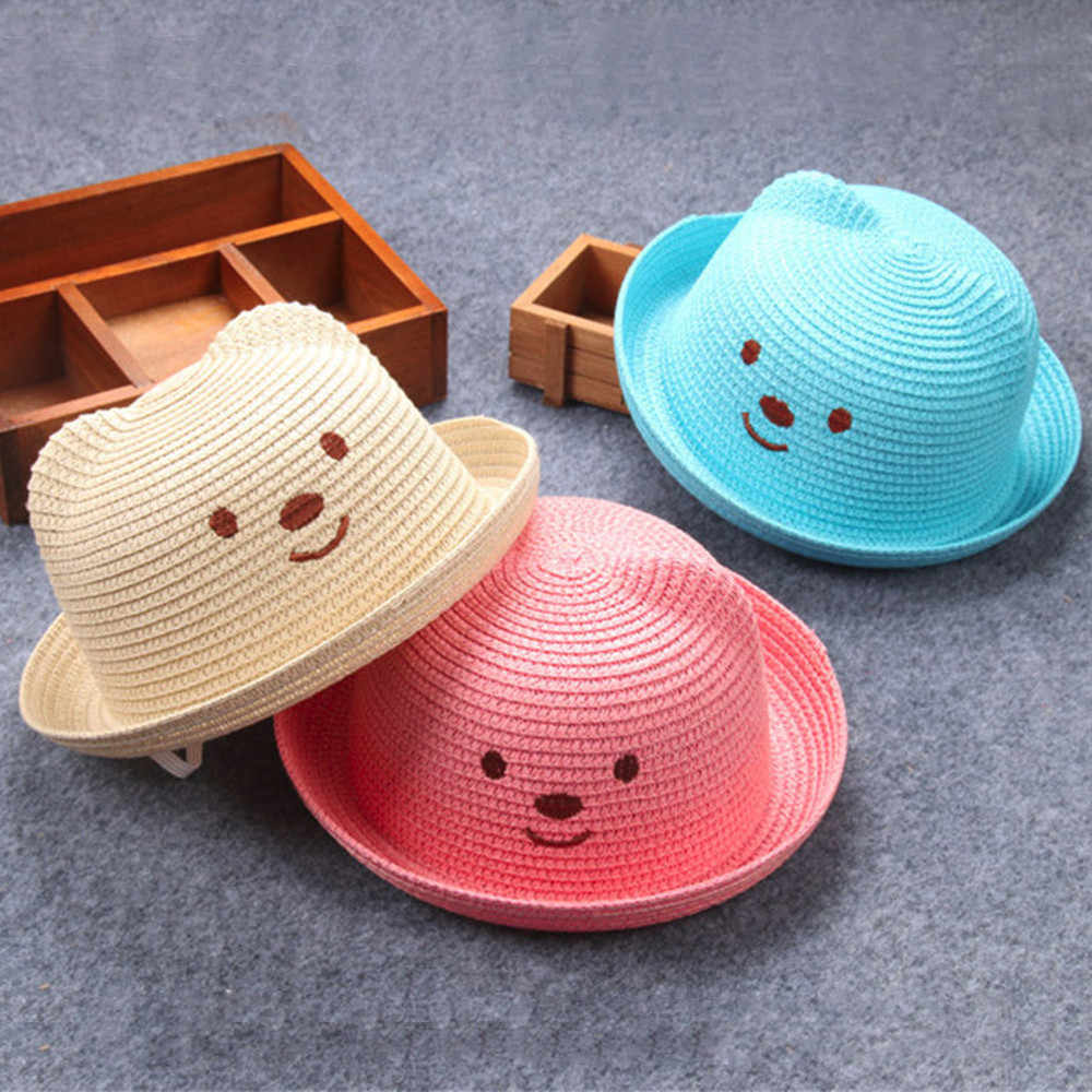 Summer Baby Cartoon Children Breathable Straw Hat Kids Boy Girls Hat Cap Children's Cat Ears Sunhat Kids Cute Beach Panama Caps