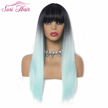 suri hair wig cosplay 130% density Glueless 26 long straight Ombre green wig with bangs Brazilian synthetic wigs for black women cool nylon fans wig for brazilian world cup yellow green