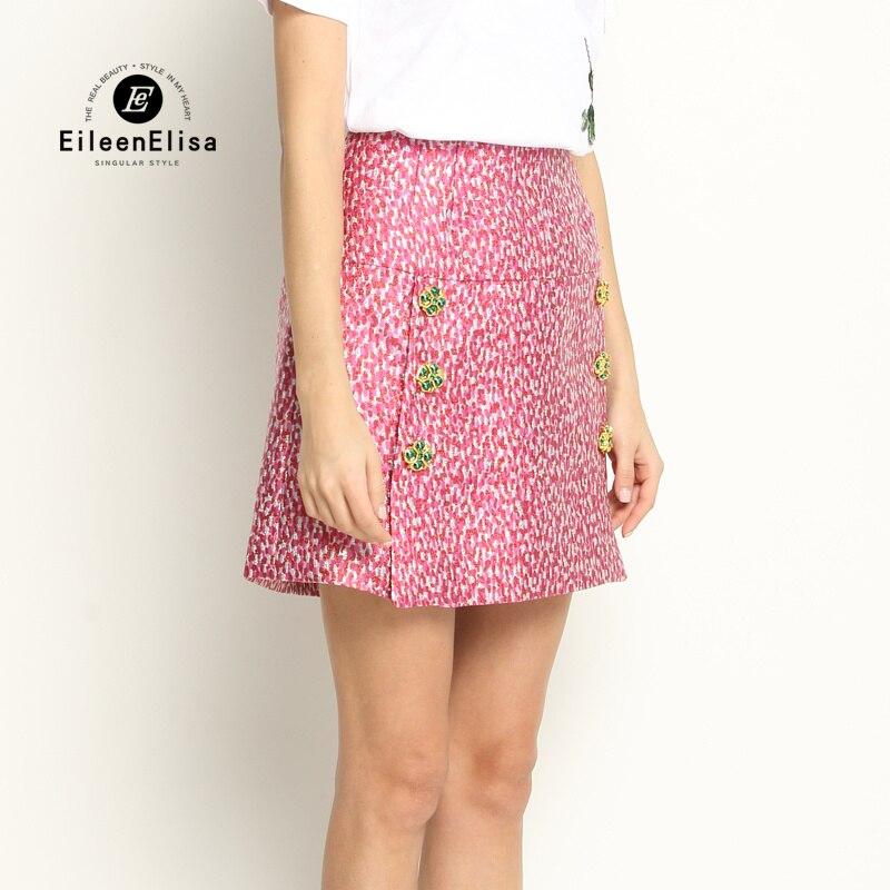 Брендовая юбка женская Высококачественная мини юбка 2017 розовая Женская летняя модная юбка в стиле ампир - 2
