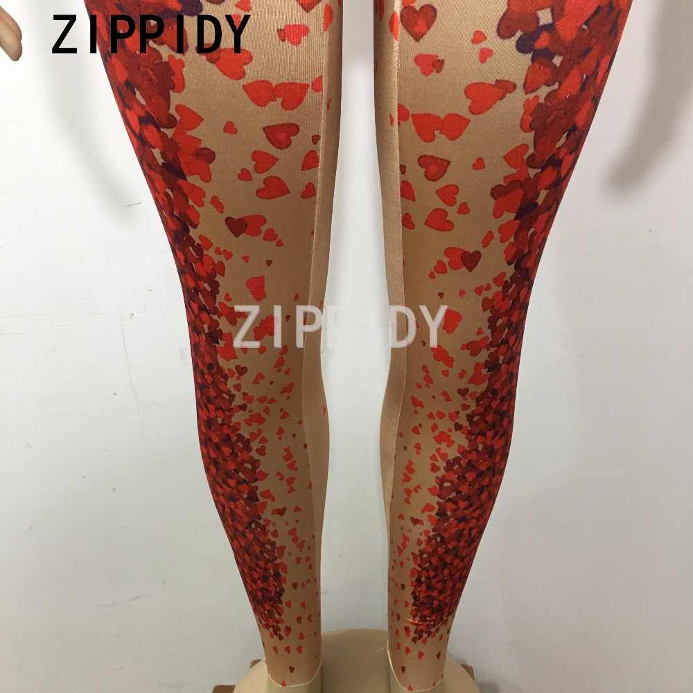 لامعة حجر الراين الأحمر شكل قلب نمط بذلة كبيرة تمتد قطعة واحدة الإناث المغني تظهر ملهى ليلي المرأة حفلة موسيقية رومبير
