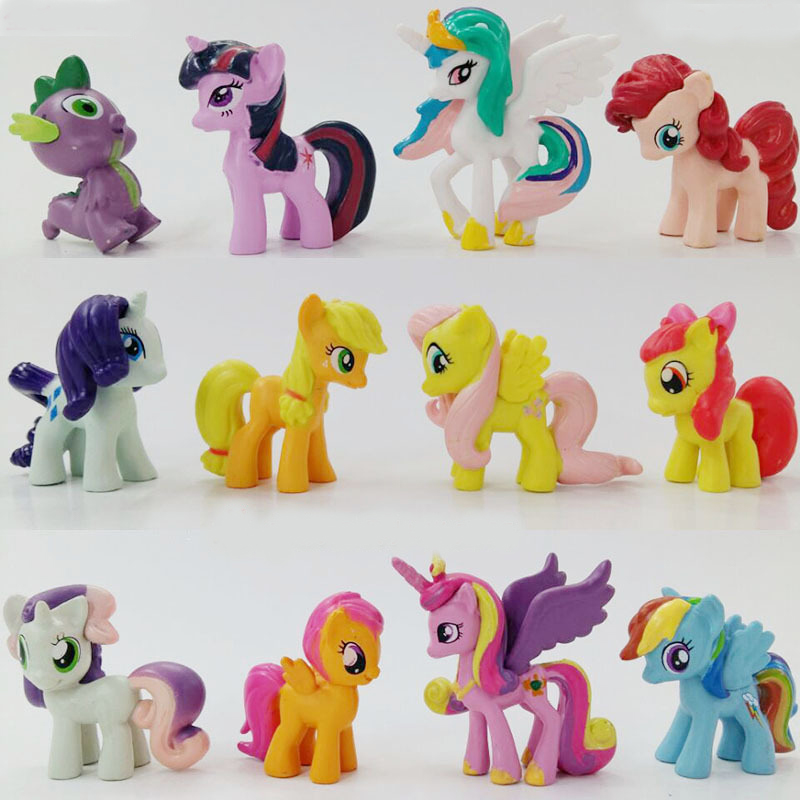 12pcs Pony Figure Cute Mini Model Doll Ornaments Toys For Children Hobbies Action Toy Figures