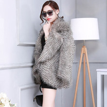 Women medium-long winter faux fur coat