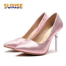 ФОТО size 33-48 women pumps 10cm high spike metal heel pointed toe bling pu leather party wedding pink lady thin rhinestone stiletto