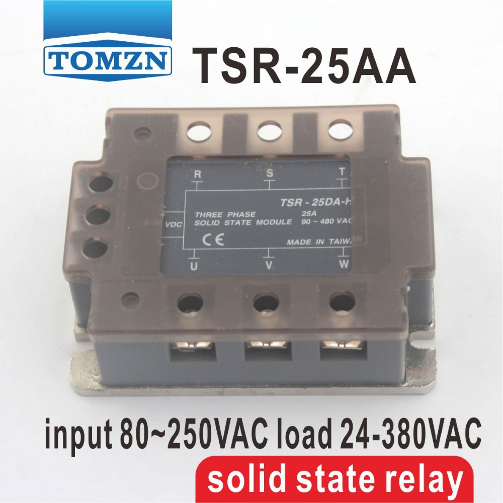 25AA TSR-25AA Three-phase SSR input 80~250VAC load 24-380VAC single phase AC solid state relay normally open single phase solid state relay ssr mgr 1 d48120 120a control dc ac 24 480v