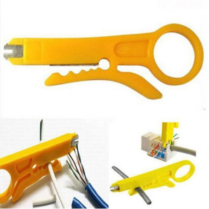 Lot 1/5/10pcs Mini Strippers Network Cable Plier Yellow UTP STP Cable Cutter Telephone Wire Stripper Punch Down Tool