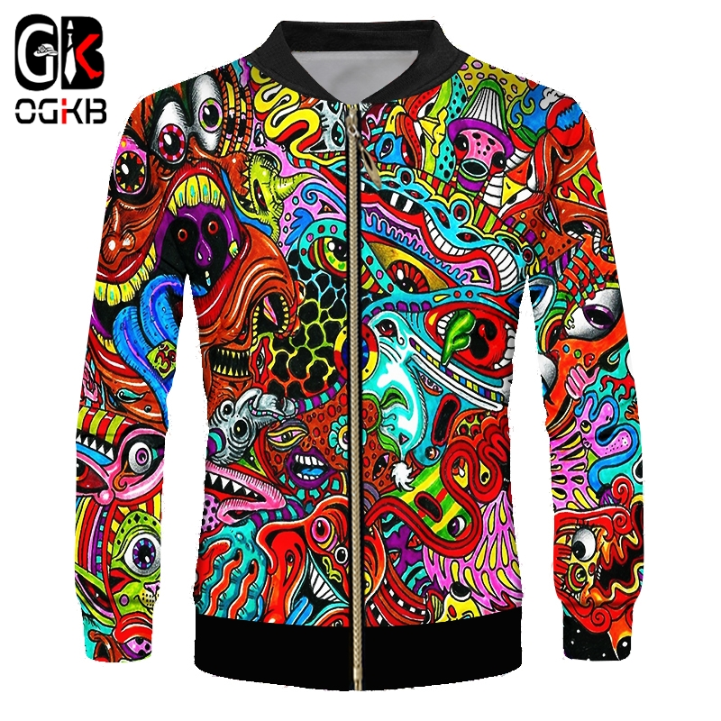 OGKB Coat Men's New Fit 3D Zipper Jackets Print Red Ghost Streetwear Overcoat Large Size Costume Homme Winter Outwear Dropship