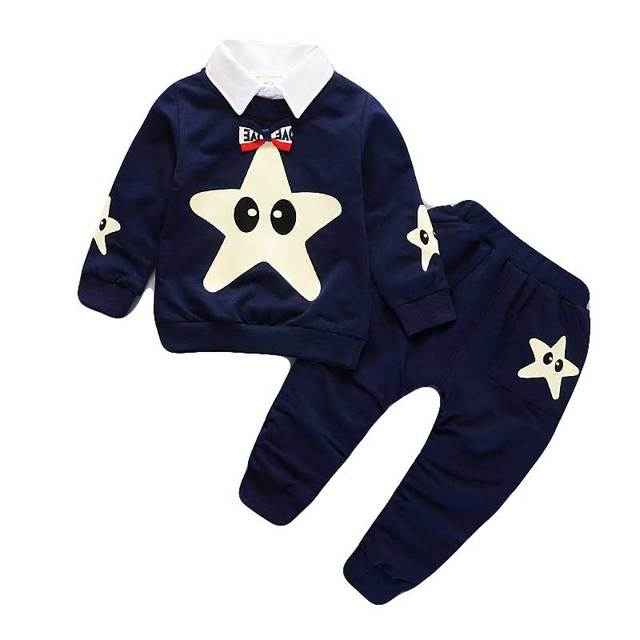 2-5T 2018 Autumn Boy Clothing Stars Print Tops + Trousers Girls Clothing Sets Two Piece Kids Clothes Sets Children Clothing
