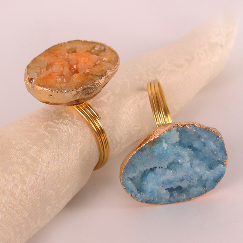 Gold Plating Circle with Natural Blue Orange Crystal Stones Tabletop Decor Napkin Rings Set of 4