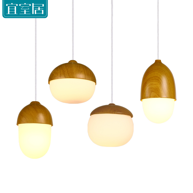 American Village Wooden Glass Pendant Lights Lamp Commercial - Commercial kitchen pendant lighting