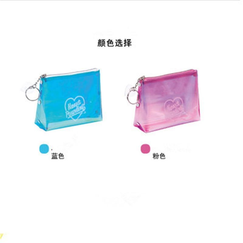 Women Portable Letter Print Laser Transparent PVC Cosmetic Bag Travel Storage Pouch Makeup Bags 8