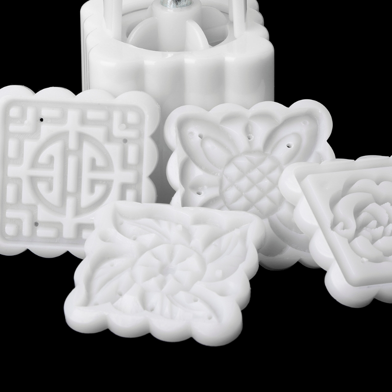 5Pcs Stamps 50g Square Flower Moon Cake Mold Mould Pastry Mooncake Hand DIY Tool