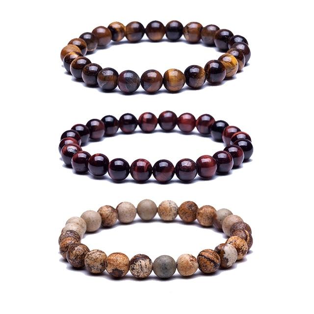 Natural Stone Beads Bracelets High Quality Tiger Eye Buddha Lava Round Elasticity Rope For