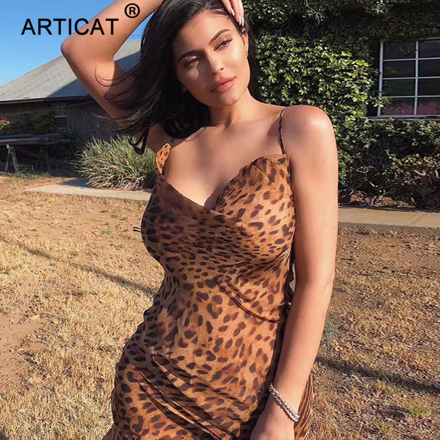 Articat Sexy V Neck Leopard Party Dress Women Spaghetti Strap Backless Slim Maxi Dress Summer Chiffon Long Beach Dress Vestidos 1