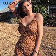 Articat סקסי V צוואר Leopard המפלגה שמלת נשים ספגטי רצועה ללא משענת Slim מקסי שמלת קיץ שיפון ארוך חוף שמלת Vestidos