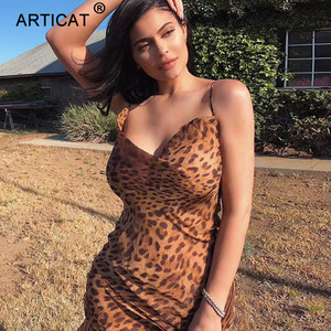 Image 1 - Articat セクシーな v ネックヒョウパーティードレス女性スパゲッティストラップ背中スリムマキシドレス夏シフォンロングビーチドレス vestidos