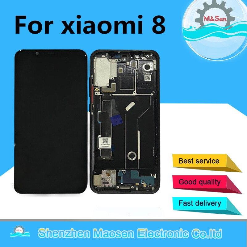 D'origine M & Sen Pour 6.21 Xiao mi 8 mi 8 mi 8 M8 Supor Amoled LCD Écran Affichage + Tactile écran Digitizer Cadre Pour mi 8 Assemblée Lcd