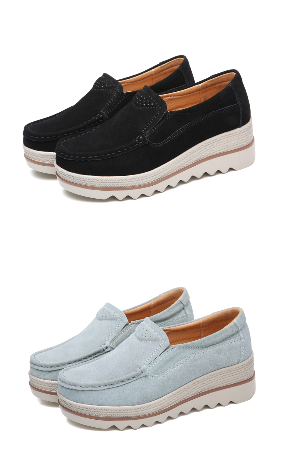 HTB1VBekazzuK1Rjy0Fpq6yEpFXa6 2019 Spring Women Flats Shoes Platform Sneakers Slip On Flats Leather Suede Ladies Loafers Moccasins Casual Shoes Women Creepers