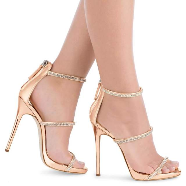 4e270f9befd7 High Heel Sandals with Three Straps Crystal Stiletto Heel Dress Shoes Rose  Gold Slim Platform Heels
