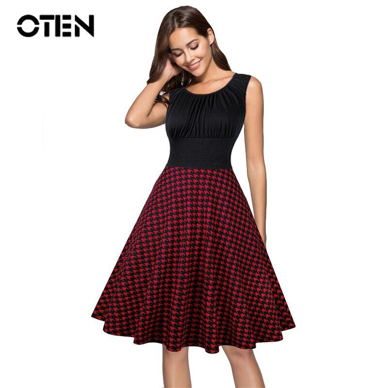 OTEN Summer Women's Clothing Sleeveless Black Houndstooth Printed Tartan Swing Pin Up Rockabilly Dress 4XL Plus Size Vestido