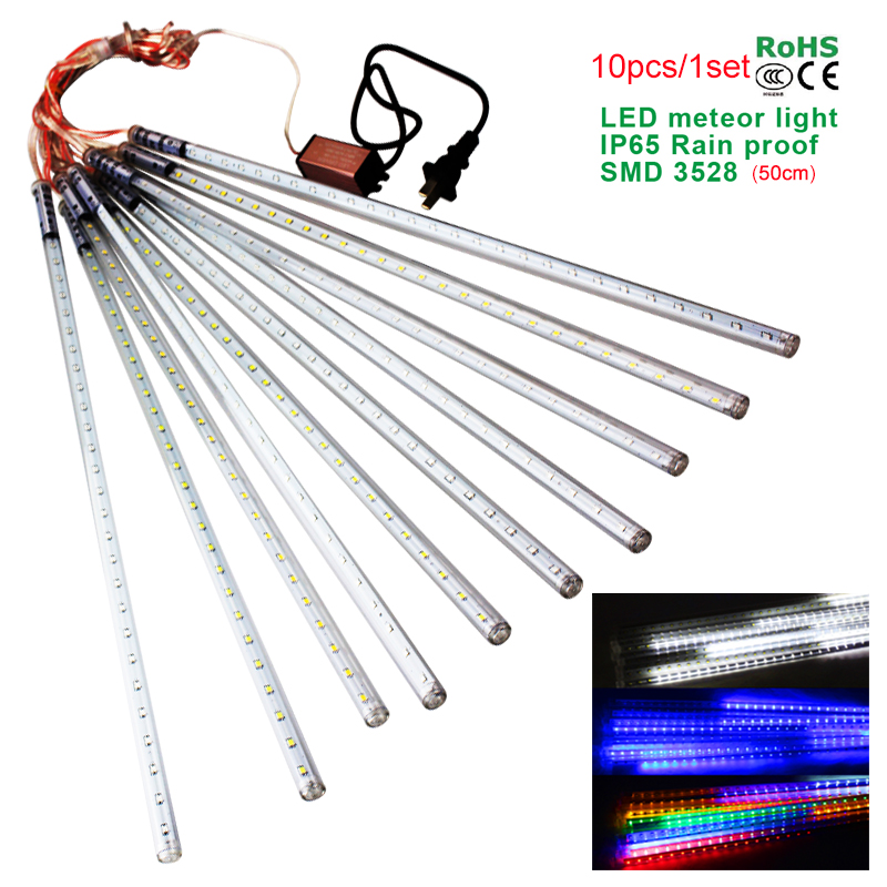 waterproof led christmas lights 10pcsset smd3528 snowfall tube 50cm meteor rain led tube light for christmas decoration outdoor